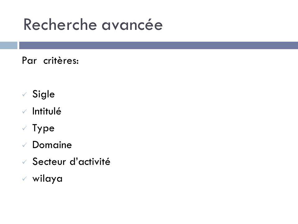 Recherche avancée Par critères: Sigle Intitulé Type Domaine Secteur dactivité wilaya