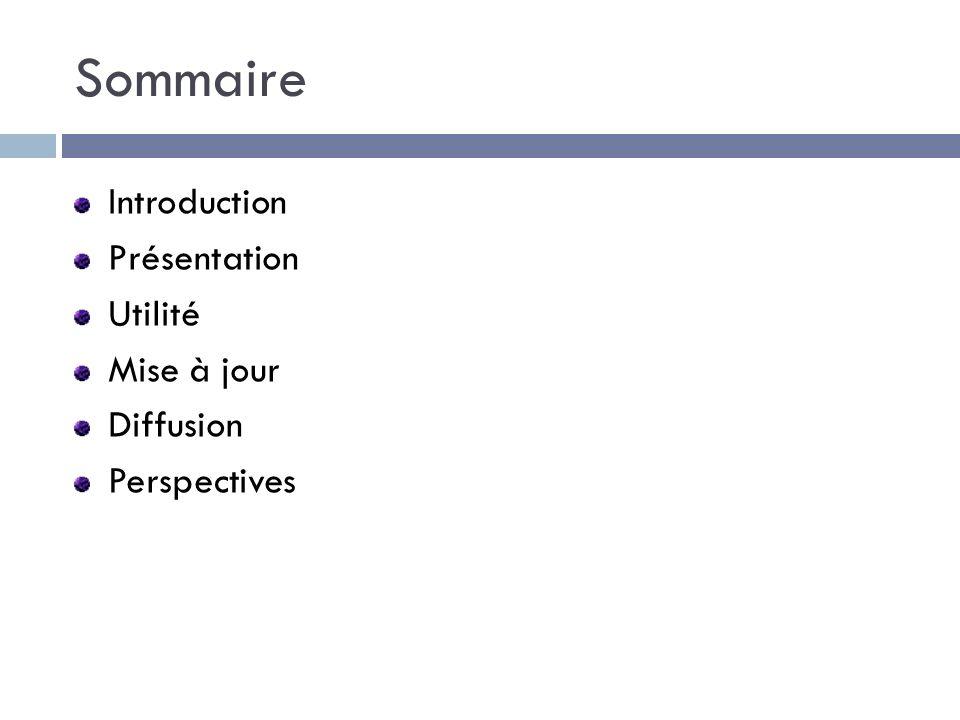 Sommaire Introduction Présentation Utilité Mise à jour Diffusion Perspectives