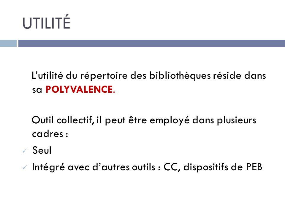 UTILITÉ Lutilité du répertoire des bibliothèques réside dans sa POLYVALENCE.