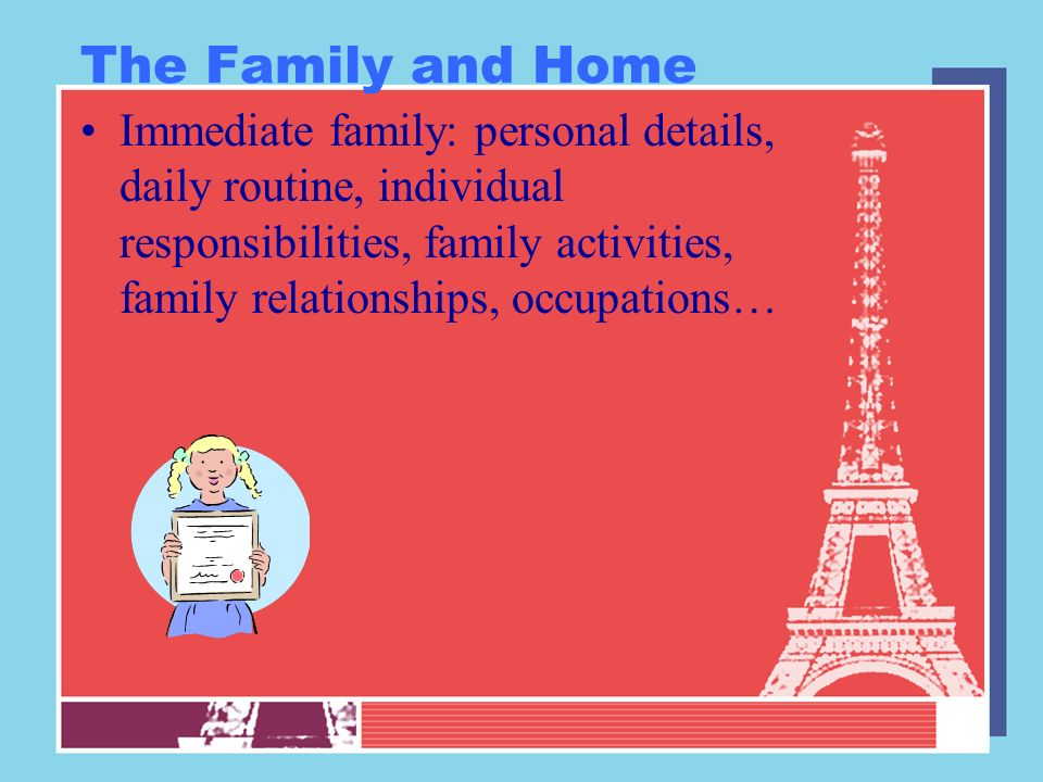 The Family and Home Immediate family: personal details, daily routine, individual responsibilities, family activities, family relationships, occupatio