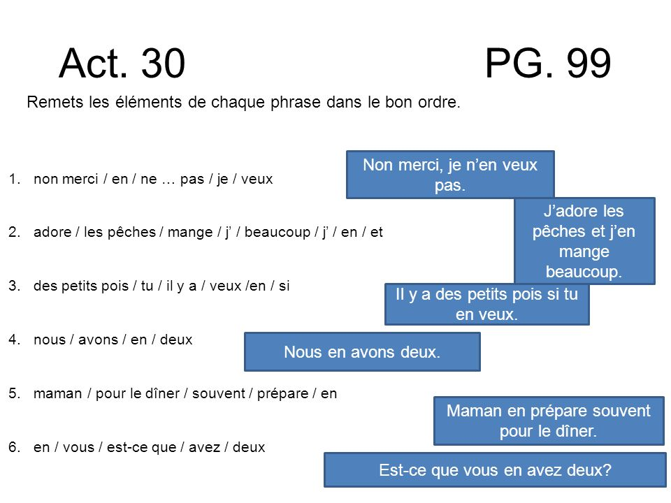 Act. 30 PG. 99 Remets les éléments de chaque phrase dans le bon ordre. 1.non merci / en / ne … pas / je / veux 2.adore / les pêches / mange / j / beau