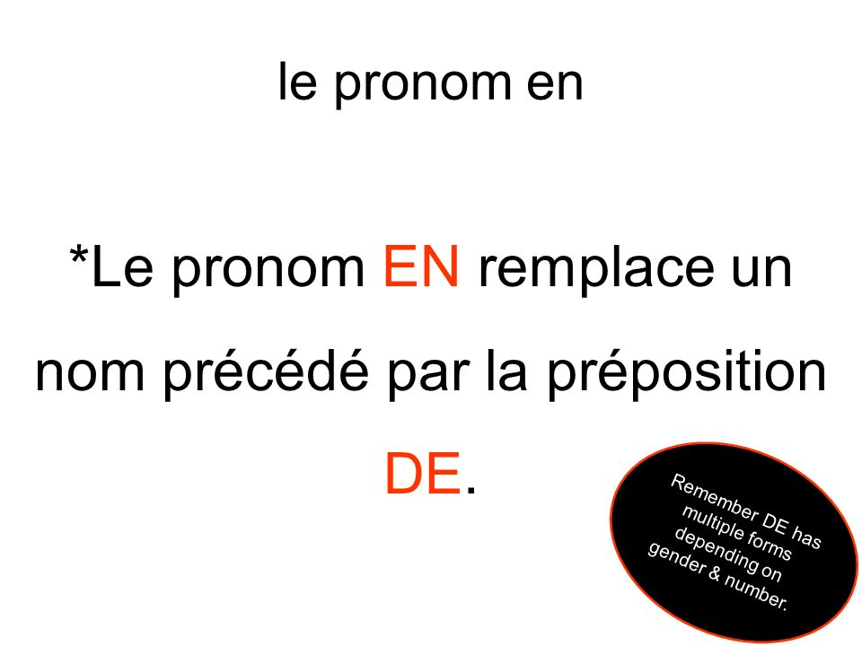 les phrases négatives * Remember in a NEGATIVE sentence (one in which you might use ne…pas), NE comes directly after the SUBJECT & PAS comes directly after the VERB.