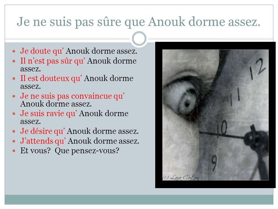 Je ne suis pas sûre que Anouk dorme assez. Je doute qu Anouk dorme assez.