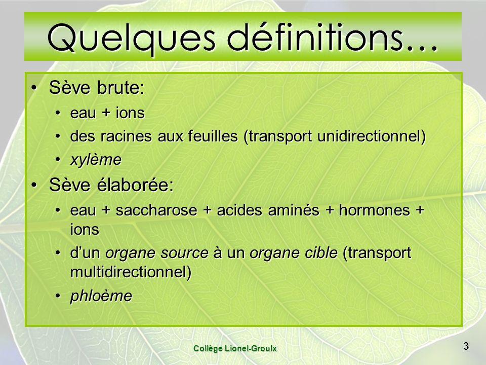 Collège Lionel-Groulx 3 Quelques définitions… Sève brute:Sève brute: eau + ionseau + ions des racines aux feuilles (transport unidirectionnel)des raci