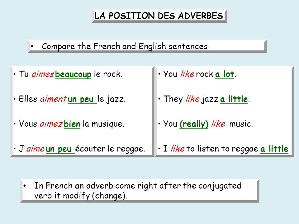 LA POSITION DES ADVERBES Compare the French and English sentences Tu aimes beaucoup le rock.