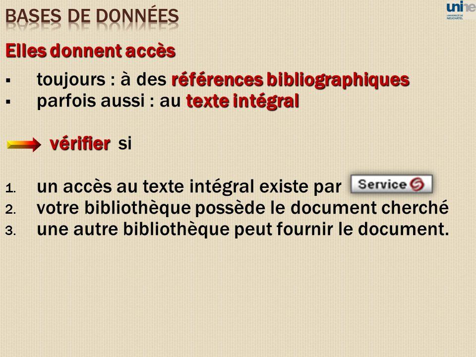 Elles donnent accès références bibliographiques toujours : à des références bibliographiques texte intégral parfois aussi : au texte intégral vérifier vérifier si 1.