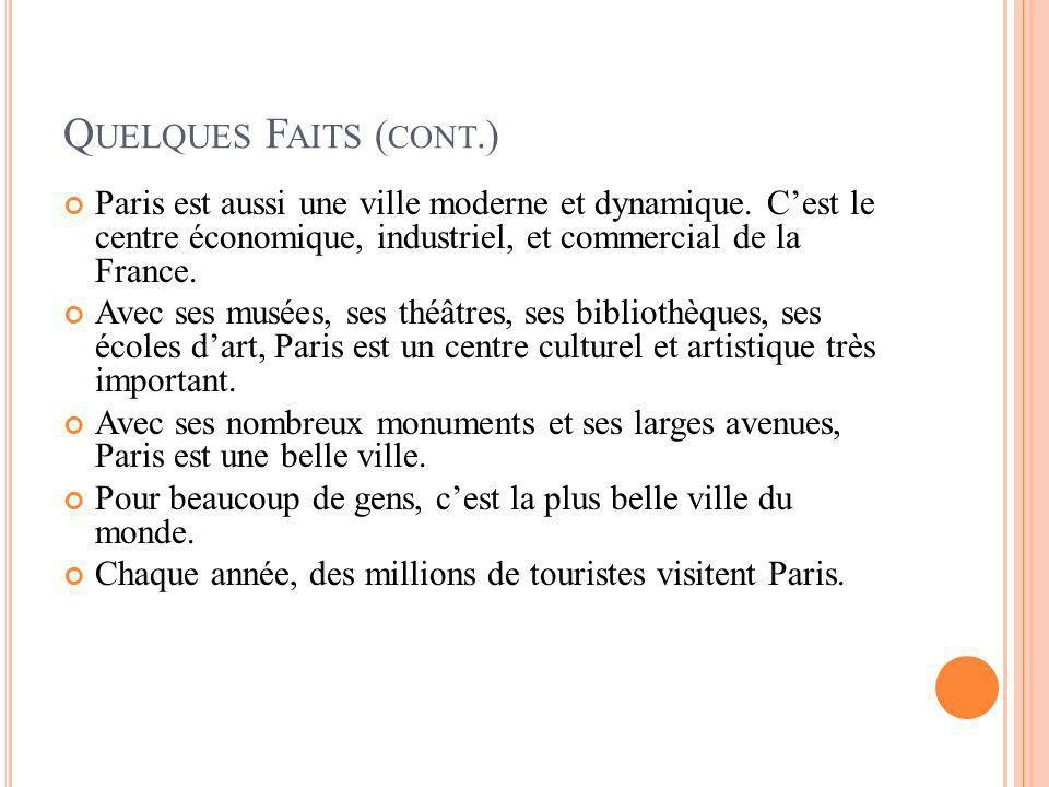 Q UELQUES F AITS ( CONT.) Paris est aussi une ville moderne et dynamique. Cest le centre économique, industriel, et commercial de la France. Avec ses