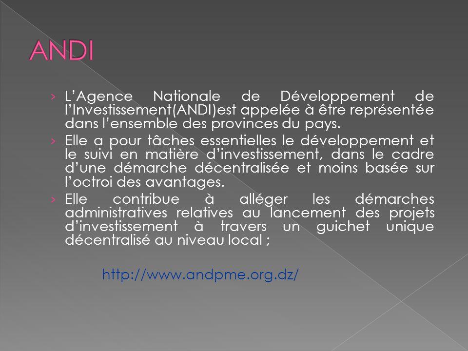 LAgence Nationale de Développement de lInvestissement(ANDI)est appelée à être représentée dans lensemble des provinces du pays. Elle a pour tâches ess