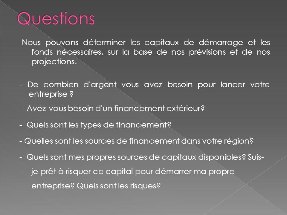 Nous pouvons déterminer les capitaux de démarrage et les fonds nécessaires, sur la base de nos prévisions et de nos projections.