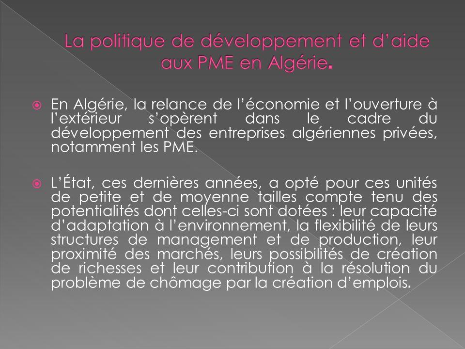 En Algérie, la relance de léconomie et louverture à lextérieur sopèrent dans le cadre du développement des entreprises algériennes privées, notamment les PME.