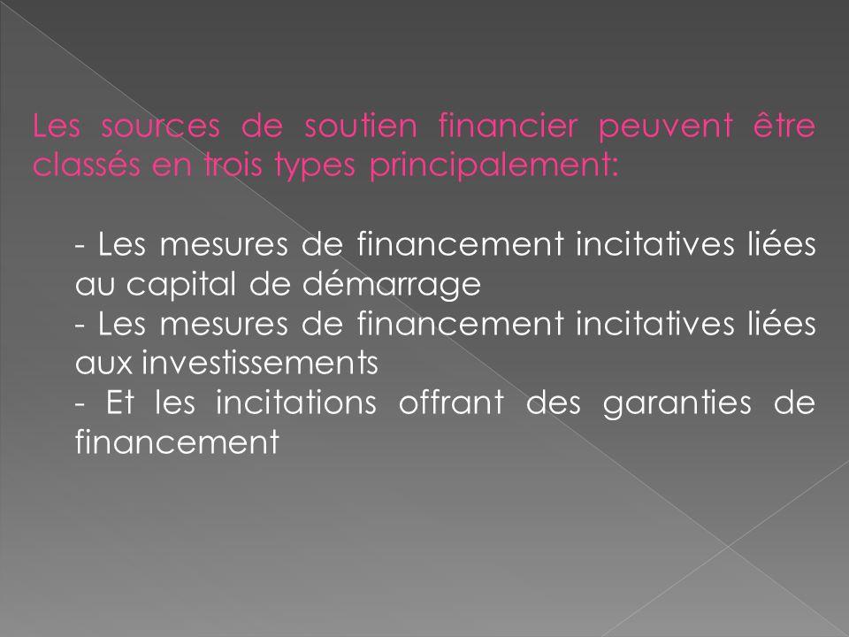 Les sources de soutien financier peuvent être classés en trois types principalement: - Les mesures de financement incitatives liées au capital de démarrage - Les mesures de financement incitatives liées aux investissements - Et les incitations offrant des garanties de financement