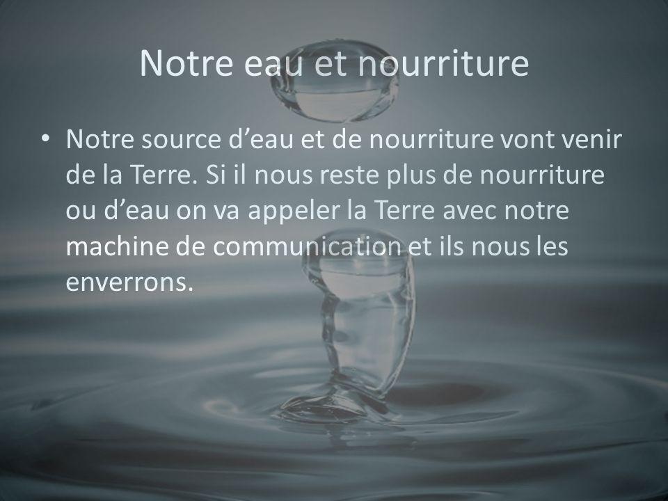 Notre eau et nourriture Notre source deau et de nourriture vont venir de la Terre.
