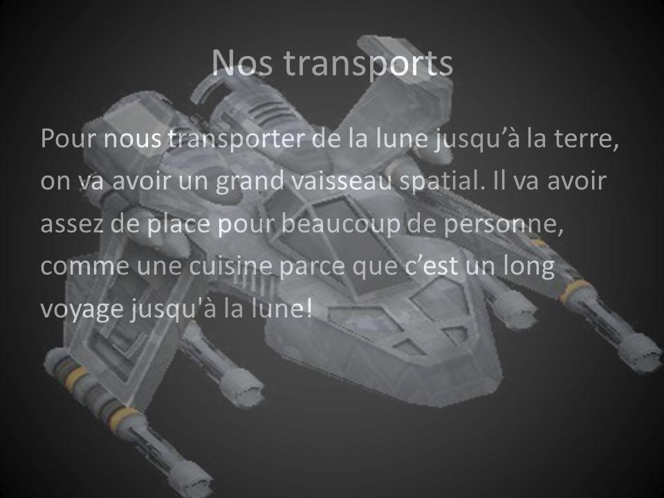 Nos transports Pour nous transporter de la lune jusquà la terre, on va avoir un grand vaisseau spatial.