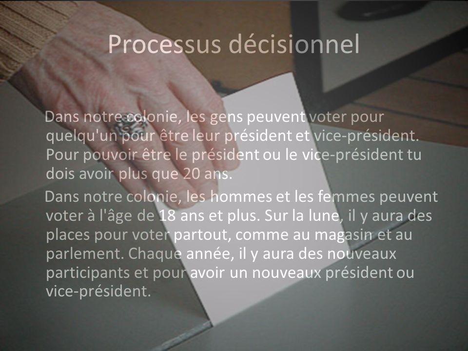 Processus décisionnel Dans notre colonie, les gens peuvent voter pour quelqu un pour être leur président et vice-président.