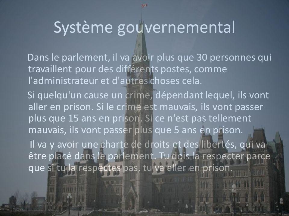 Système gouvernemental Dans le parlement, il va avoir plus que 30 personnes qui travaillent pour des différents postes, comme l administrateur et d autres choses cela.