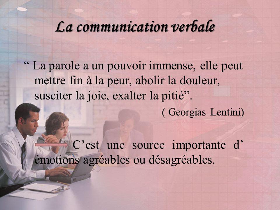 La communication verbale La parole a un pouvoir immense, elle peut mettre fin à la peur, abolir la douleur, susciter la joie, exalter la pitié.
