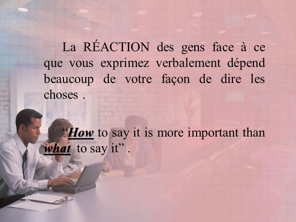 La RÉACTION des gens face à ce que vous exprimez verbalement dépend beaucoup de votre façon de dire les choses.