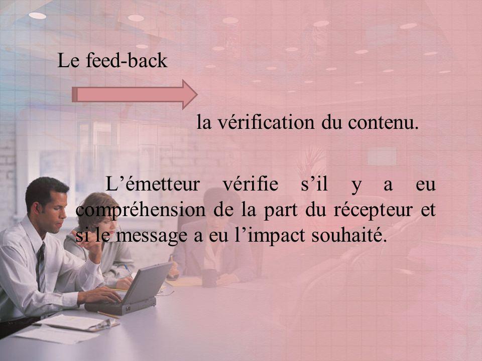Le feed-back la vérification du contenu.