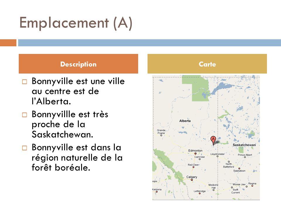 Emplacement (A) Bonnyville est une ville au centre est de lAlberta.