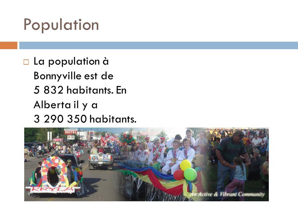 Population La population à Bonnyville est de 5 832 habitants.