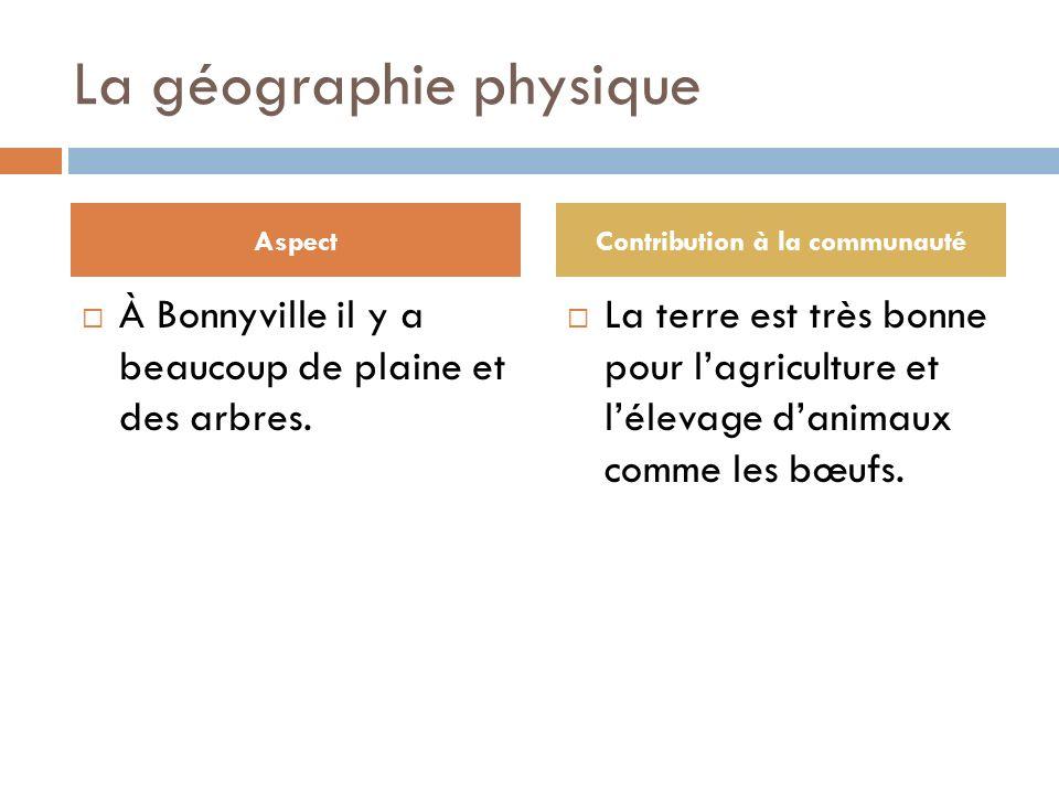La géographie physique À Bonnyville il y a beaucoup de plaine et des arbres.