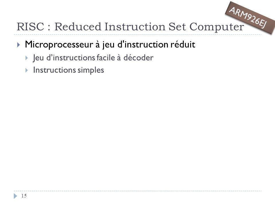 RISC : Reduced Instruction Set Computer Microprocesseur à jeu d'instruction réduit Jeu dinstructions facile à décoder Instructions simples ARM926EJ 15