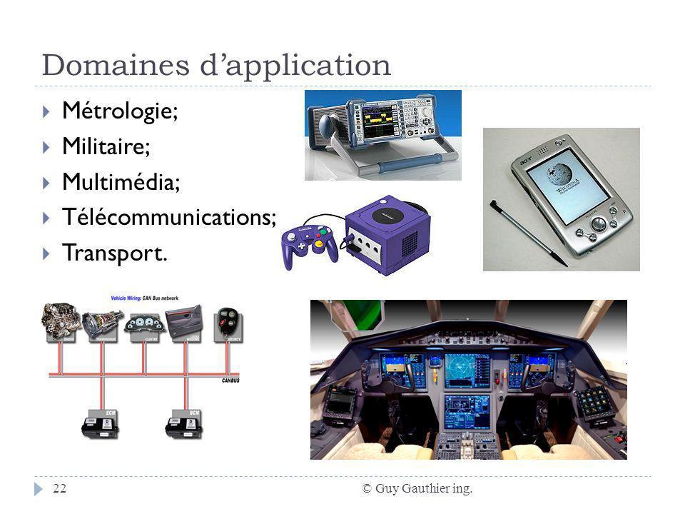 Domaines dapplication © Guy Gauthier ing.22 Métrologie; Militaire; Multimédia; Télécommunications; Transport.