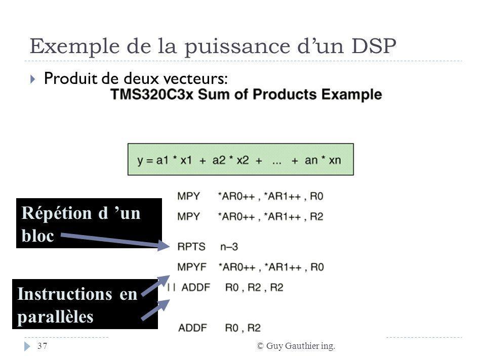 Exemple de la puissance dun DSP © Guy Gauthier ing.37 Produit de deux vecteurs: Répétion d un bloc Instructions en parallèles