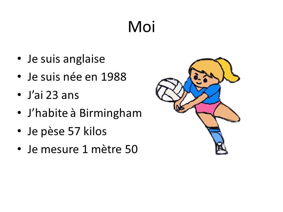 Moi Je suis anglaise Je suis née en 1988 Jai 23 ans Jhabite à Birmingham Je pèse 57 kilos Je mesure 1 mètre 50