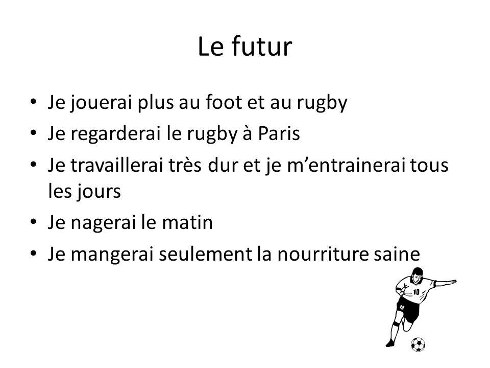 Le futur Je jouerai plus au foot et au rugby Je regarderai le rugby à Paris Je travaillerai très dur et je mentrainerai tous les jours Je nagerai le m