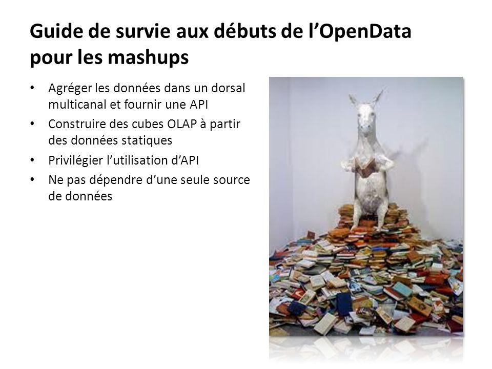 Guide de survie aux débuts de lOpenData pour les mashups Agréger les données dans un dorsal multicanal et fournir une API Construire des cubes OLAP à partir des données statiques Privilégier lutilisation dAPI Ne pas dépendre dune seule source de données