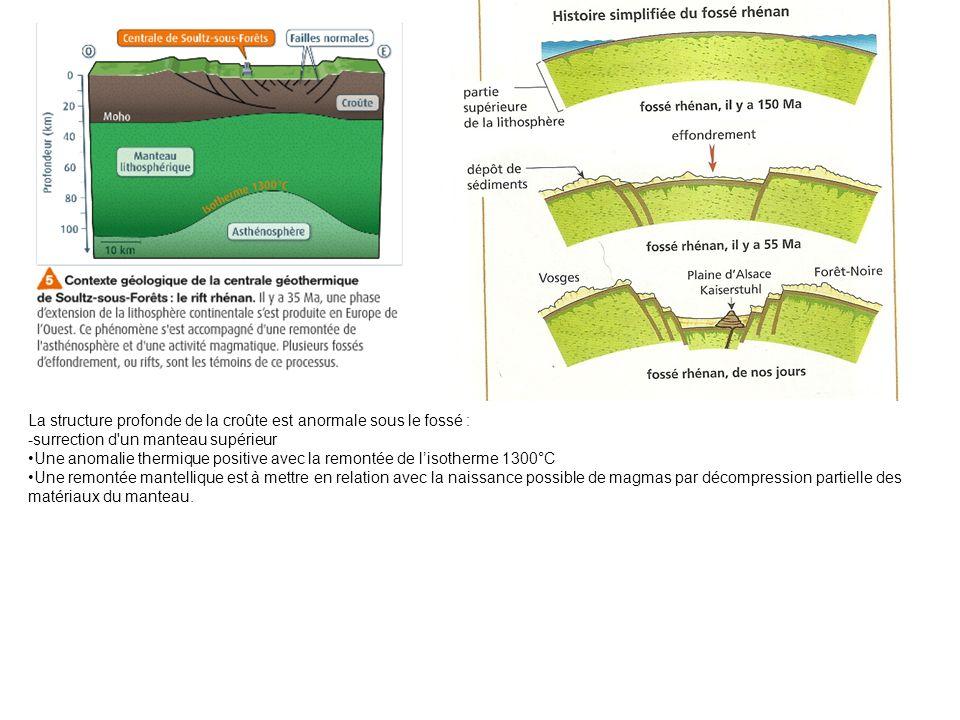 La structure profonde de la croûte est anormale sous le fossé : -surrection d'un manteau supérieur Une anomalie thermique positive avec la remontée de