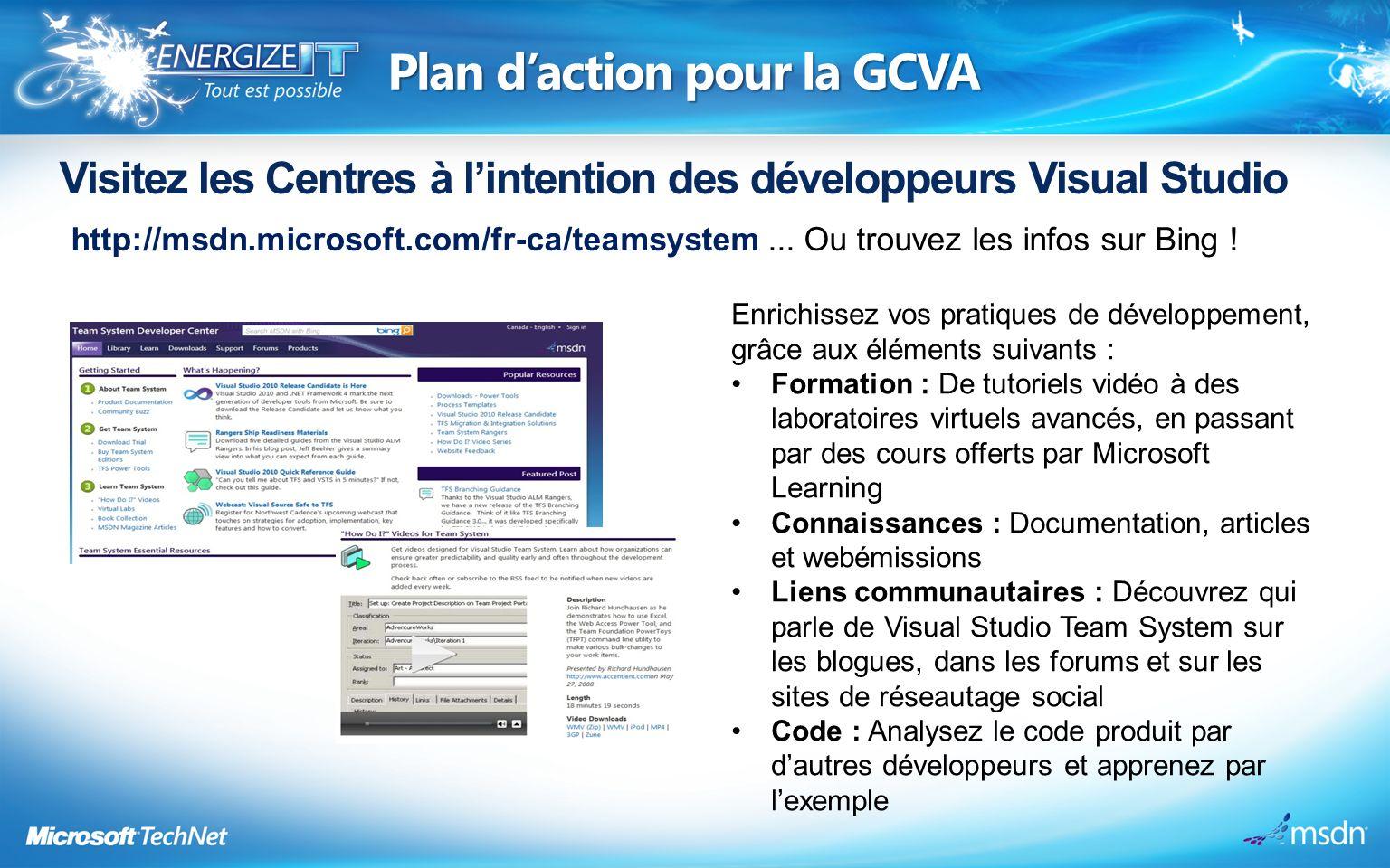 Plan daction pour la GCVA Visitez les Centres à lintention des développeurs Visual Studio http://msdn.microsoft.com/fr-ca/teamsystem...