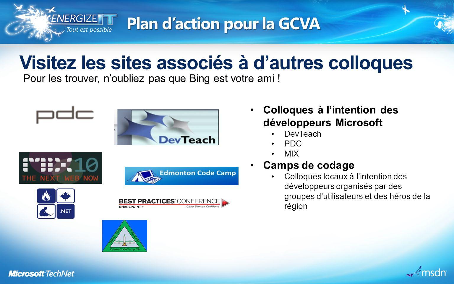 Plan daction pour la GCVA Visitez les sites associés à dautres colloques Pour les trouver, noubliez pas que Bing est votre ami .