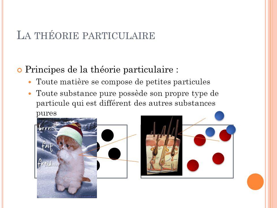 L A THÉORIE PARTICULAIRE Principes de la théorie particulaire : Toute matière se compose de petites particules Toute substance pure possède son propre type de particule qui est différent des autres substances pures