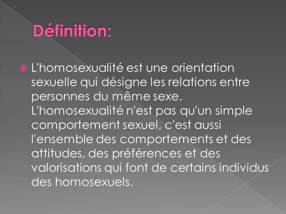 L homosexualité est une orientation sexuelle qui désigne les relations entre personnes du même sexe.