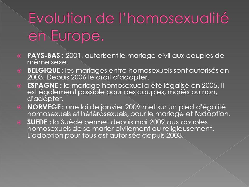 PAYS-BAS : 2001, autorisent le mariage civil aux couples de même sexe.