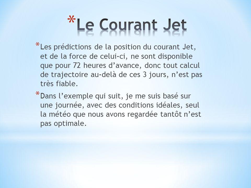 * Les prédictions de la position du courant Jet, et de la force de celui-ci, ne sont disponible que pour 72 heures davance, donc tout calcul de trajectoire au-delà de ces 3 jours, nest pas très fiable.