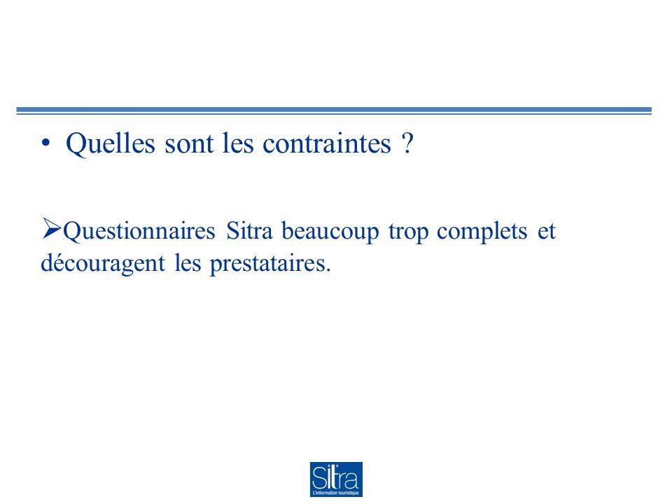 Quelles sont les contraintes ? Questionnaires Sitra beaucoup trop complets et découragent les prestataires.