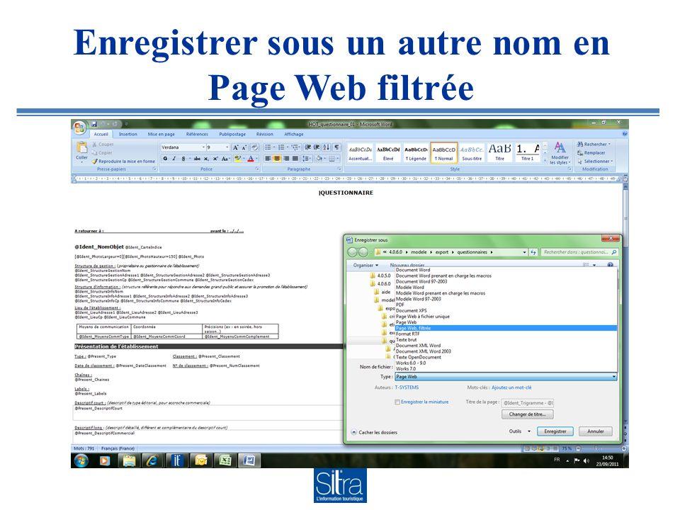 Enregistrer sous un autre nom en Page Web filtrée