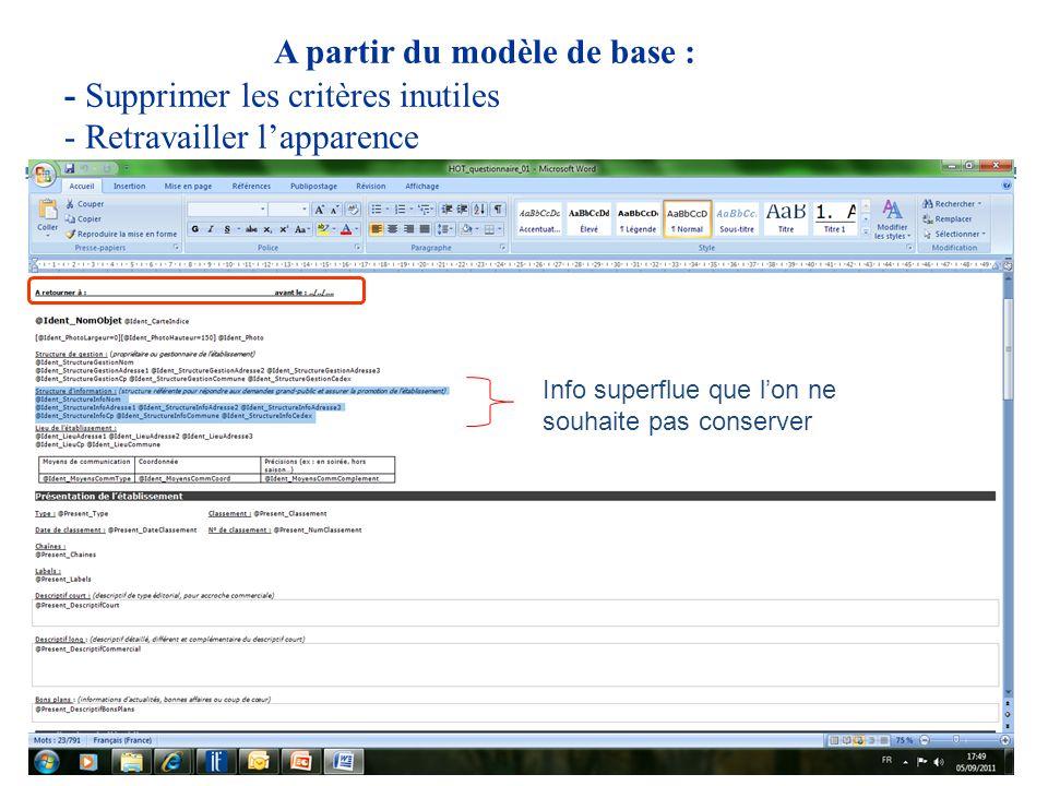 A partir du modèle de base : - Supprimer les critères inutiles - Retravailler lapparence Info superflue que lon ne souhaite pas conserver