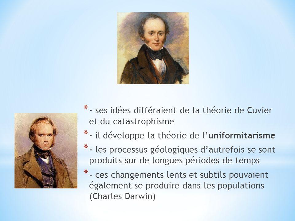 * - ses idées différaient de la théorie de Cuvier et du catastrophisme * - il développe la théorie de luniformitarisme * - les processus géologiques d