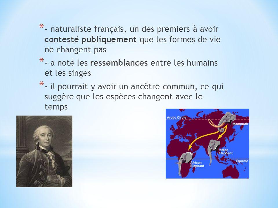 * - naturaliste français, un des premiers à avoir contesté publiquement que les formes de vie ne changent pas * - a noté les ressemblances entre les h