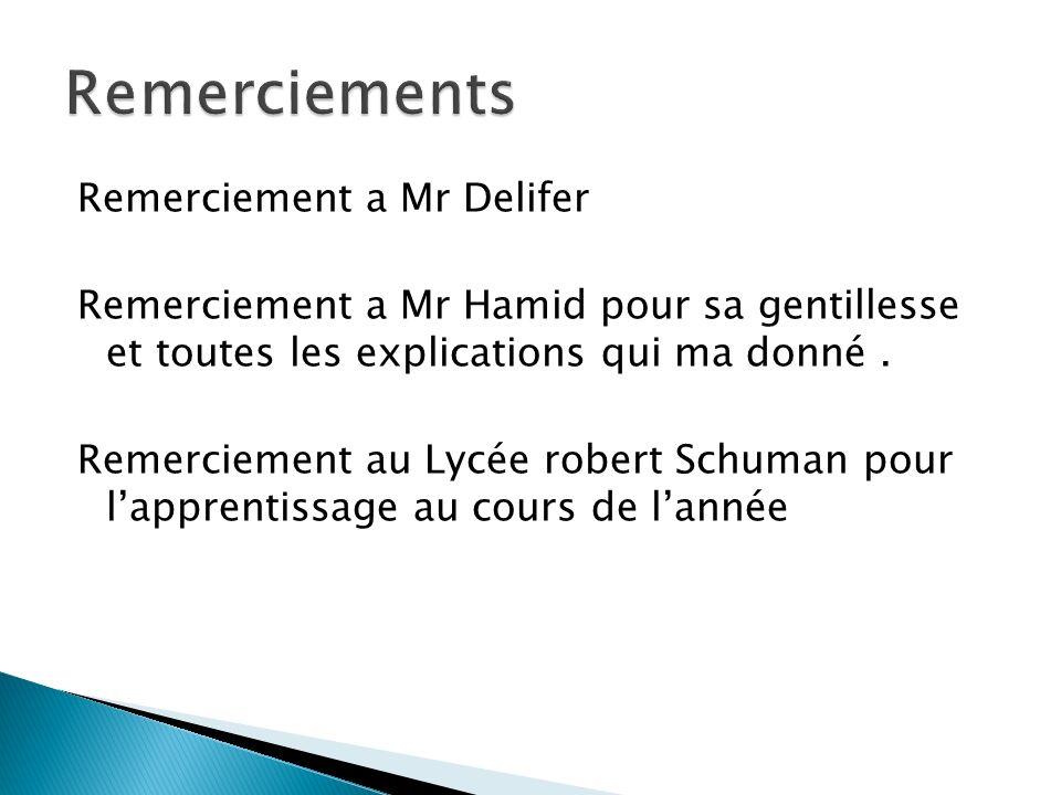Remerciement a Mr Delifer Remerciement a Mr Hamid pour sa gentillesse et toutes les explications qui ma donné. Remerciement au Lycée robert Schuman po