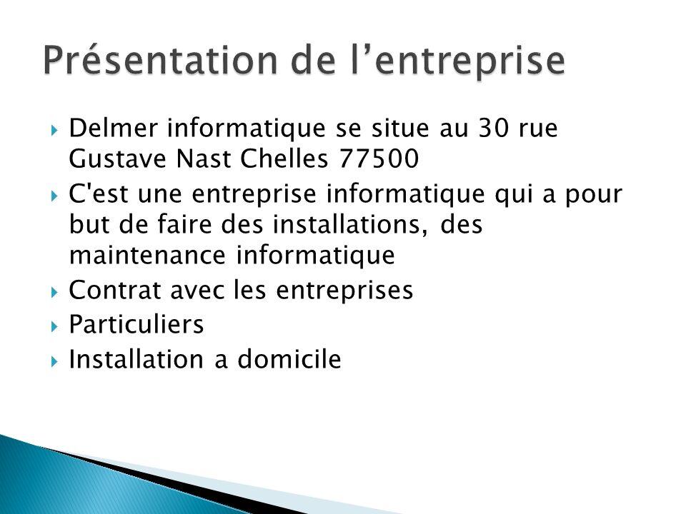 Delmer informatique se situe au 30 rue Gustave Nast Chelles 77500 C'est une entreprise informatique qui a pour but de faire des installations, des mai
