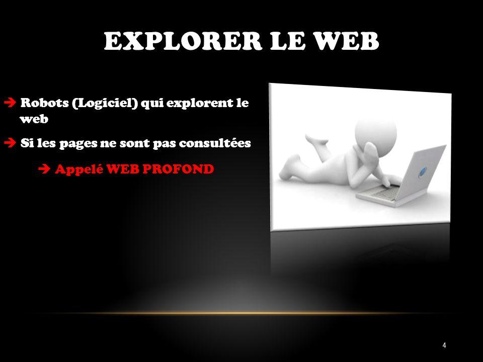 EXPLORER LE WEB Robots (Logiciel) qui explorent le web Si les pages ne sont pas consultées Appelé WEB PROFOND 4