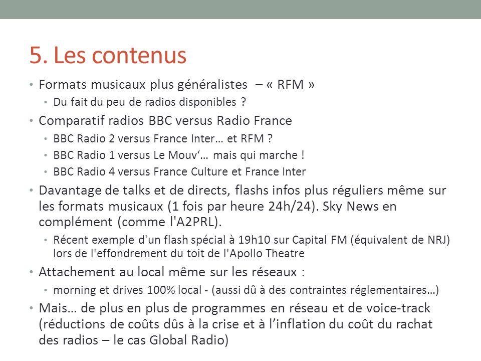 5. Les contenus Formats musicaux plus généralistes – « RFM » Du fait du peu de radios disponibles ? Comparatif radios BBC versus Radio France BBC Radi