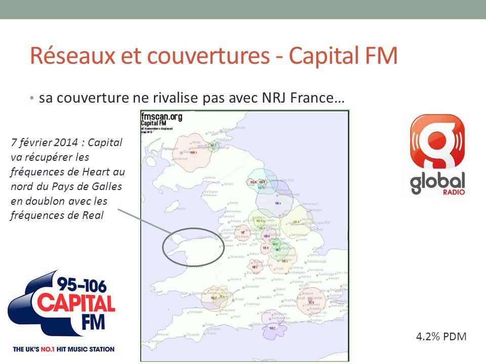 Réseaux et couvertures - Capital FM sa couverture ne rivalise pas avec NRJ France… 4.2% PDM 7 février 2014 : Capital va récupérer les fréquences de He