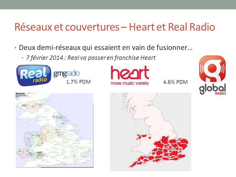 Réseaux et couvertures – Heart et Real Radio Deux demi-réseaux qui essaient en vain de fusionner… 7 février 2014 : Real va passer en franchise Heart 4