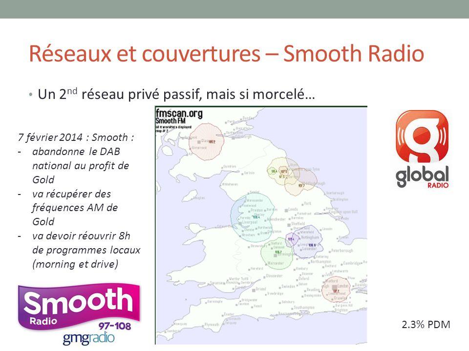 Réseaux et couvertures – Smooth Radio Un 2 nd réseau privé passif, mais si morcelé… 2.3% PDM 7 février 2014 : Smooth : -abandonne le DAB national au p
